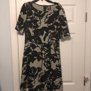back zipper dress black and grey rose